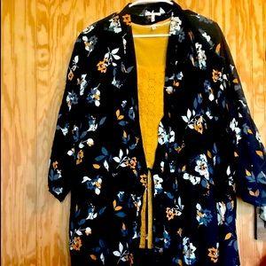 Maurice's navy blue floral cinch waist wrap w/ tee